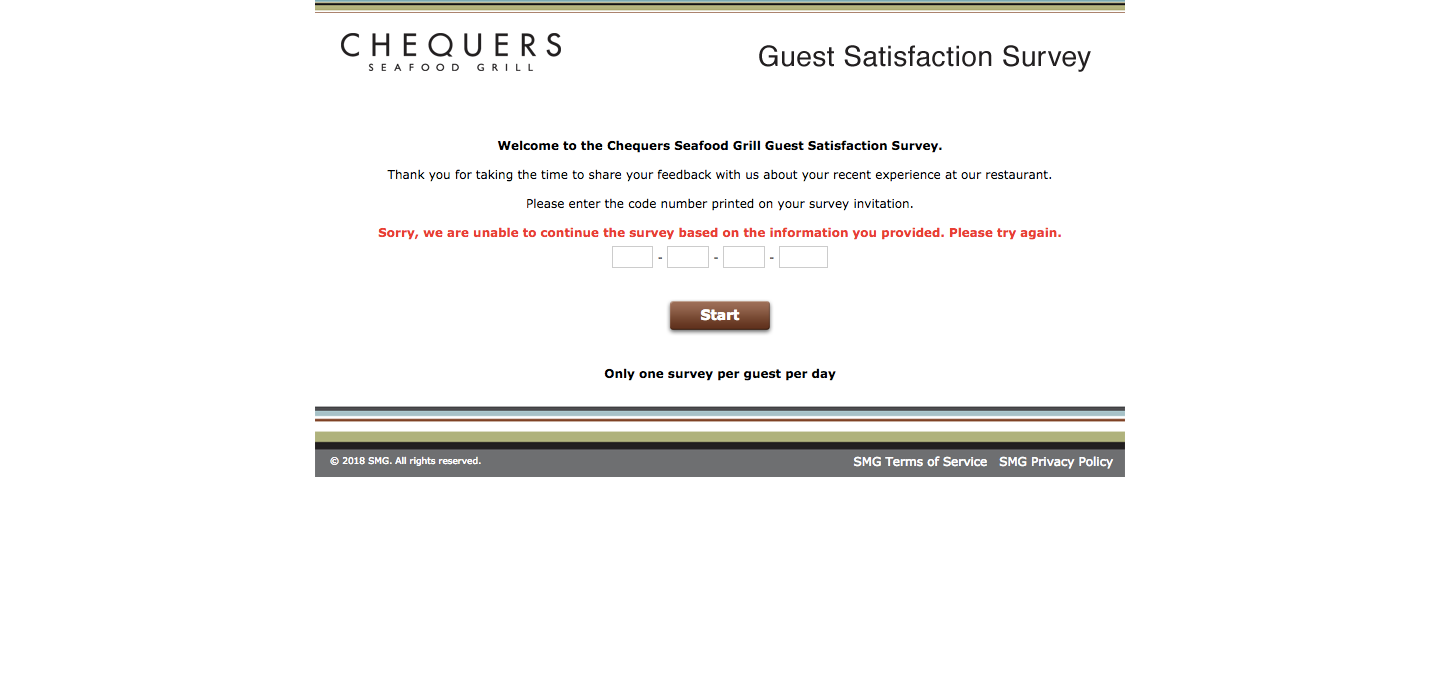 Chequers Guest Satisfaction Survey
