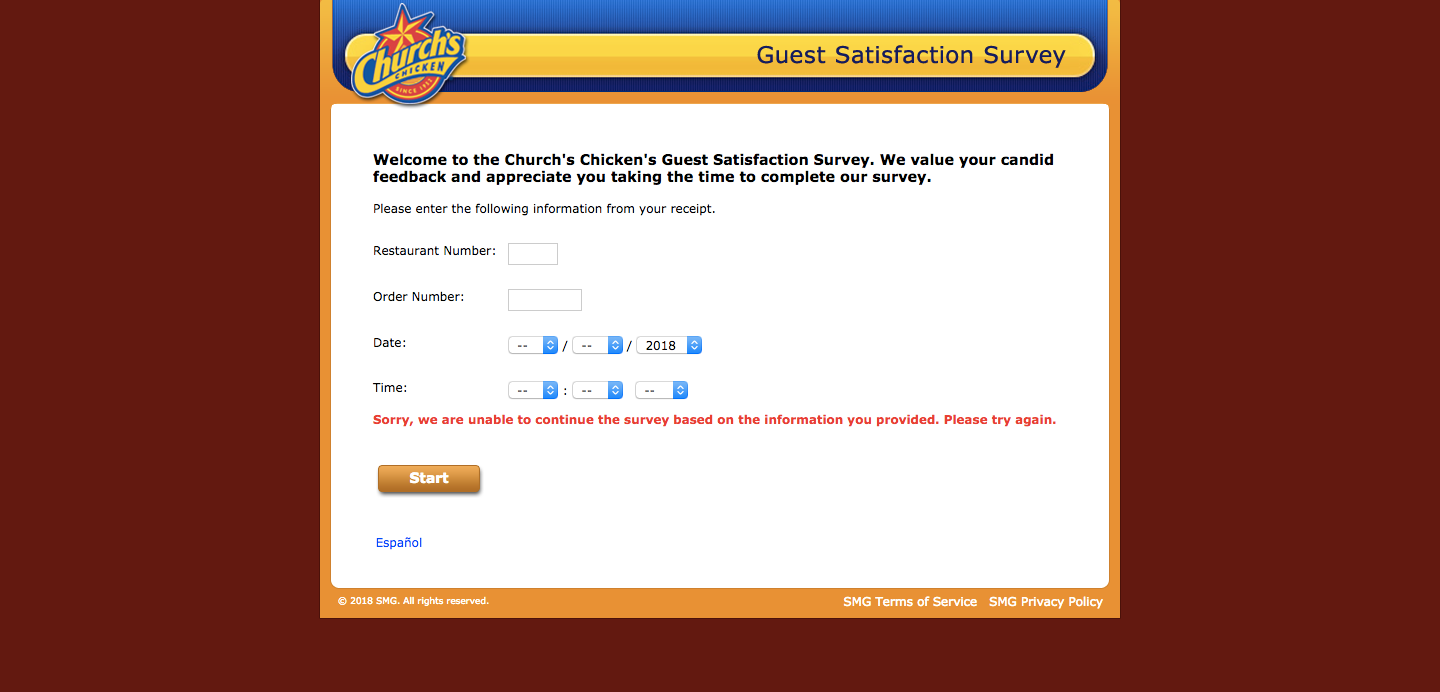 Church's Chicken Feedback Survey