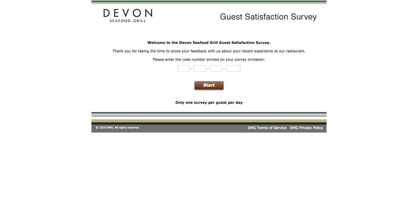 Devon Seafood Grill Customer Satisfaction Survey