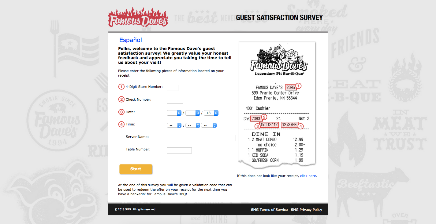 Famous Dave's BBQ Customer Experience Survey