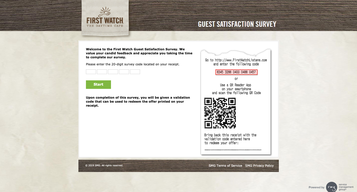 First Watch Customer Satisfaction Survey