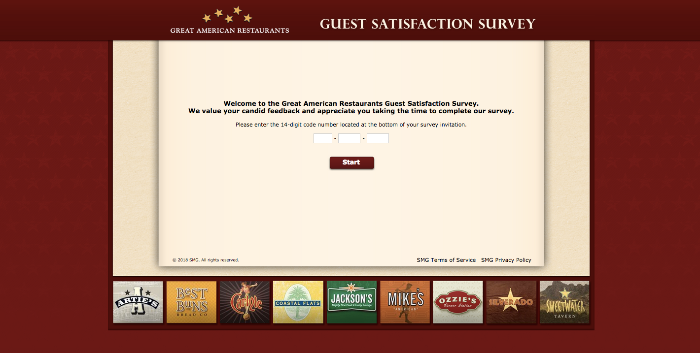 Great American Restaurants Guest Satisfaction Survey