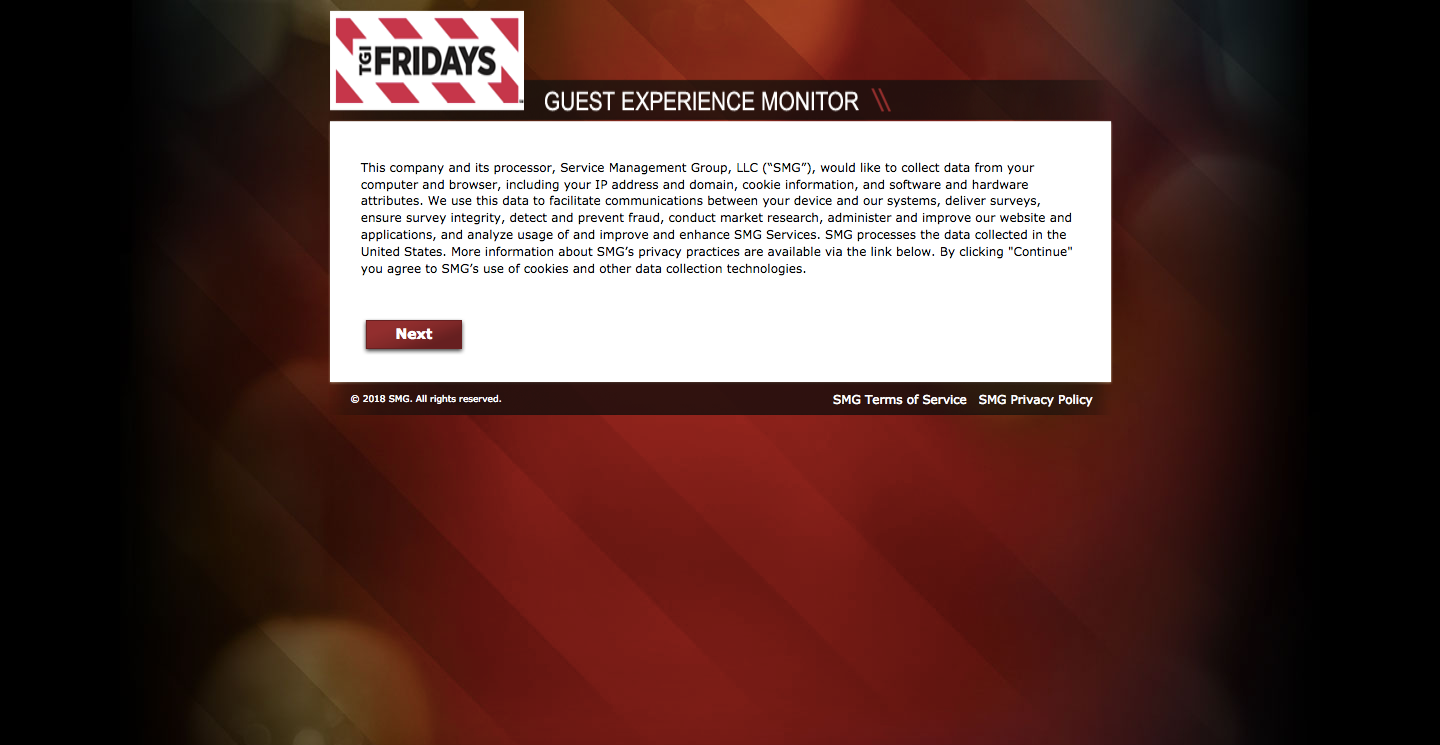 TGI Friday's Visit Customer Satisfaction Survey