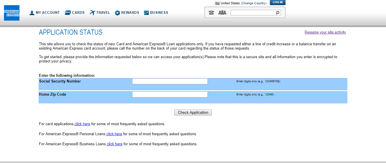 check status of american express application