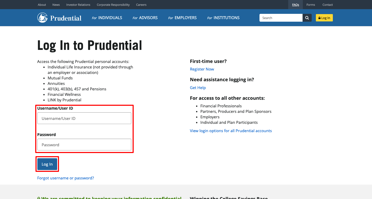 prudential annuity login